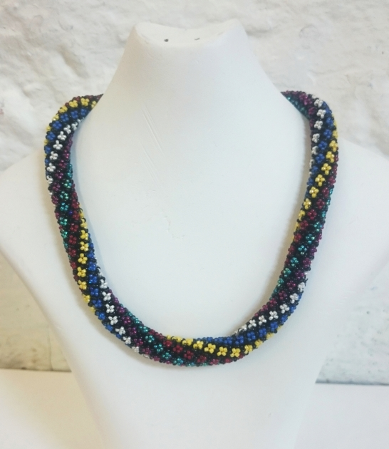 Millefiori style seed bead thick necklace in the Italian style