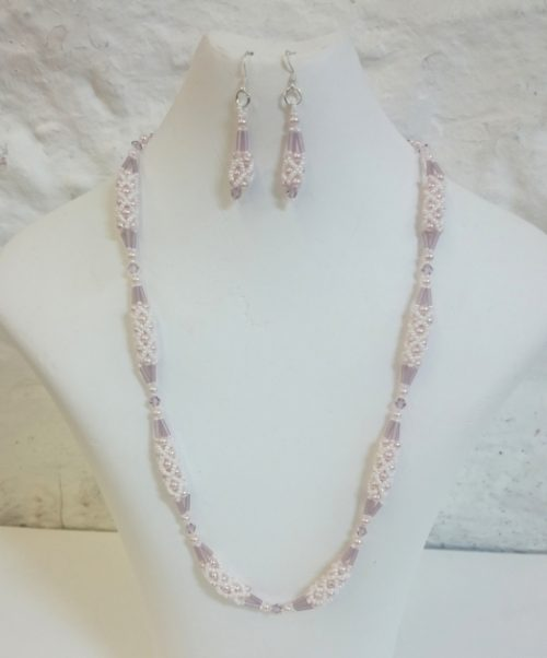 Pale Pink pearl and Swarovski crystal seed bead set