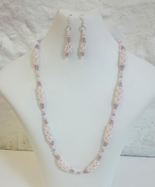 Pale Pink pearl and Swarovski crystal seed bead set