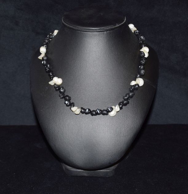 Kelp and Black Crow shell necklace