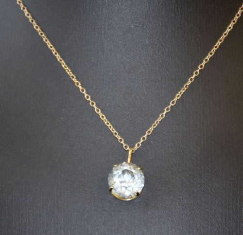 Killikrankie Diamond (Tasmanian Topaz) pendant in gold basket setting