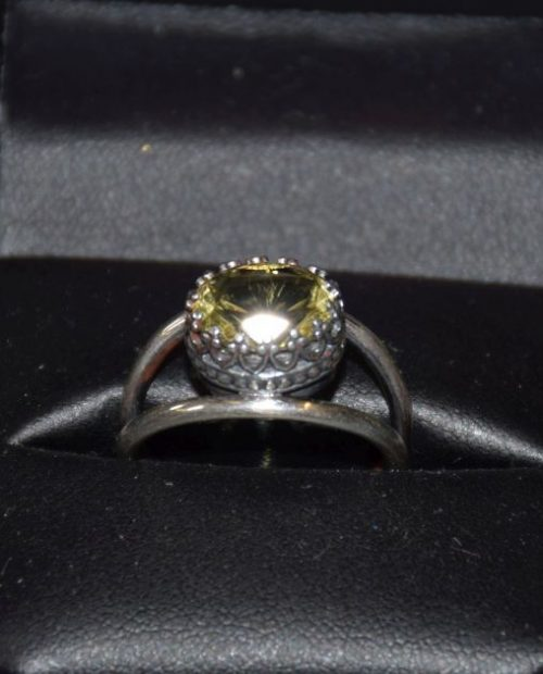 Tasmanian Citrine in crown Setting ring.